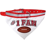 Football Bandana Dog Collar Red Large